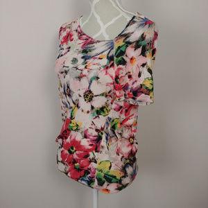 Deletta Anthropologie Floral Knit Top Asymmetrical